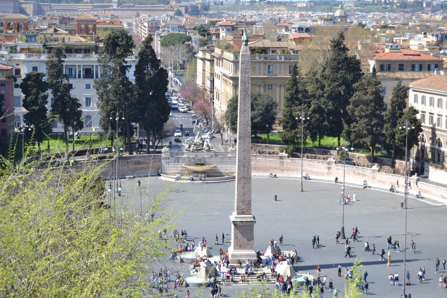Piazza del Popolo as seen from the Villa Borghese grounds.