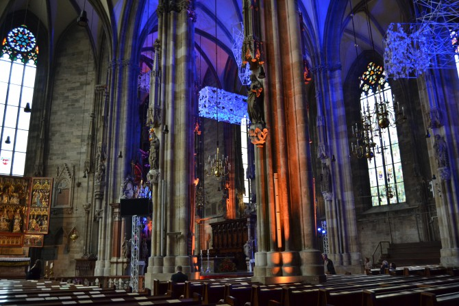 We were in Vienna over Pfingpause, a religious holiday, so the main cathedral was all done up in lights!