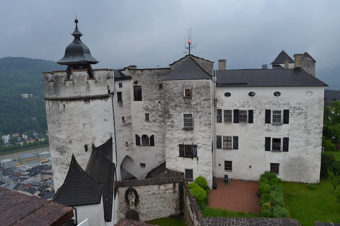 View of section of Hohensalzburg Fortress--Tall Girl Big World